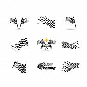 Race Flag Vector Icon Symbols. Simple Design Checkered Flag Logo Template poster