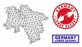 2d Polygonal Lower Saxony Land Map And Grunge Seal Stamps. Abstract Lines And Small Circles Form Low poster