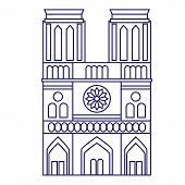Notre Dame De Paris Geometric Illustration Isolated On White. Paris France Line Art Series. poster