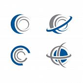 Set Of Abstract Planet And Orbit Circle Logo Design Template. Vector Icon Planet Logo poster