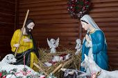 Christmas Nativity Scene Joseph And Mary With Jesus In The Cradle, Christmas Nativity Scene Of The B poster