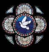 pic of stained glass  - colorful stained glass round window with dove - JPG