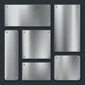 Metal Plates. Steel Plate, Stainless Panel Chrome Tag With Screws. Industrial Technology Metallic Bl poster