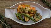 Grilled Shrimp Skewers. Seafood, Shelfish. Shrimps Prawns Skewers With Herbs, Garlic. Shrimps Prawns poster