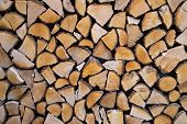Wall Firewood, Background Of Dry Chopped Firewood Logs In A Pile poster