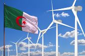 Algeria Alternative Energy, Wind Energy Industrial Concept With Windmills And Flag - Alternative Ren poster