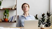 Businesswoman Stretching Shoulders After Hard Work Feeling Discomfort At Work poster