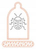 Mesh Bug Protection Condom Polygonal Symbol Vector Illustration. Carcass Model Is Based On Bug Prote poster