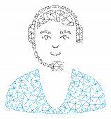 Mesh Call Center Guy Polygonal 2d Vector Illustration. Carcass Model Is Based On Call Center Guy Fla poster