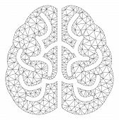 Mesh Brain Polygonal Icon Vector Illustration. Carcass Model Is Based On Brain Flat Icon. Triangular poster