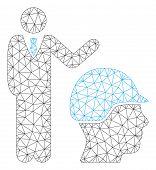Mesh Builder Management Polygonal Icon Vector Illustration. Carcass Model Is Based On Builder Manage poster