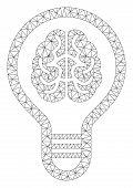 Mesh Brain Bulb Polygonal Icon Vector Illustration. Carcass Model Is Based On Brain Bulb Flat Icon.  poster