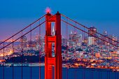 stock photo of gate  - Golden Gate Bridge and downtown San Francisco - JPG
