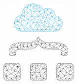 Mesh Combine Cloud Polygonal Icon Vector Illustration. Model Is Based On Combine Cloud Flat Icon. Tr poster