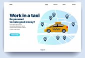 Web Page Flat Design Template For Work In A Taxi. Business Landing Page Online You Want To Make Good poster