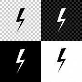 Lightning Bolt Icon Isolated On Black, White And Transparent Background. Flash Icon. Charge Flash Ic poster