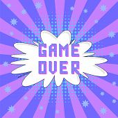 Retro Pixel Game Over Sign On Colored Background. Gaming Concept. Video Game Screen. poster