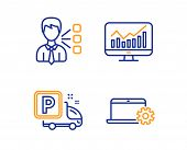 Statistics, Truck Parking And Third Party Icons Simple Set. Notebook Service Sign. Financial Report, poster
