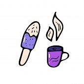 Ice Cream And Coffee Cup In Doodle Style. Icecream And Mug With Beverage Isolated On White Backgroud poster
