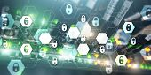 Cyber Security Abstract Technology Banner Background. Data Protection, Information Privacy poster