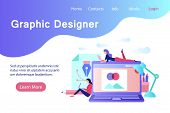 Graphic Designer Banner In Flat Style. Creative Designers Working With Laptop Computer. Professional poster