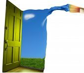 pic of paint brush  - Door opening to blue sky with paint brush - JPG