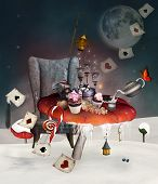 Wonderland Surreal Christmas Banquet With Fantasy Mushrooms And A Table Full Of Cakes - 3d Illustrat poster