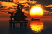 pic of drilling platform  - Sea Oil Platforms and Tanker in the sunset 3D render - JPG