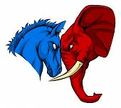 A Blue Donkey And Red Elephant Facing Off. American Politics Or Election Concept With Animal Mascots poster
