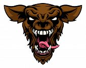 A Cartoon Scary Wolf Or Werewolf Sports Mascot Creature Animal Character poster