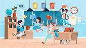 Happy Pupils Jump In The Classroom. School Building poster