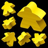 picture of boardgame  - Yellow wooden Meeple vector set isolated on white - JPG