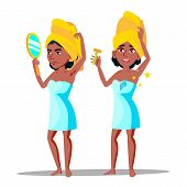 Character Young Woman With Hairy Armpit Vector. Standing African Girl With Mirror Sad Before Depilat poster