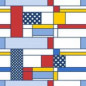 Simple Modern Pattern - Seamless Texture In Mondrian Style. Design For Gift Wrapping Paper Or Bedshe poster