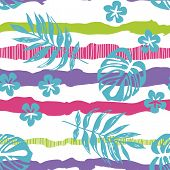 Drawn Tropical Leaves On A Striped Background Seamless Pattern. Color Stripes With Floral Print.text poster