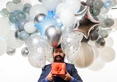 Festive Event Or Birthday Party. People, Joy, Birthday, Celebration. Happy Birthday Guy Holds Helium poster