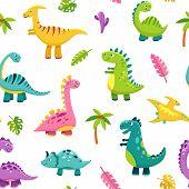 Dinosaur Seamless Pattern. Cartoon Cute Baby Dino Funny Monsters Jurassic Wild Animals Dragon Dinosa poster