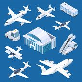 Isometric Airport Building, Airplaines And Transport At The Airport Vector Set. Isometric Airplane A poster