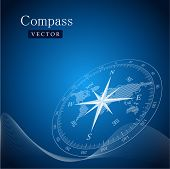 picture of nautical equipment  - Black compass vector illustration - JPG
