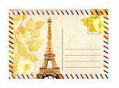 Vintage postcard with Eiffel Tower and rose flowers. Isolated on white background poster