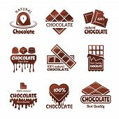 Chocolate Logo. Sweets Stylized Badges Chef And Kitchen Cooking Desserts Concept Vector Illustration poster