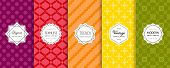 Vector Geometric Seamless Patterns Collection. Set Of Bright Colorful Background Swatches With Elega poster