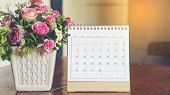 Desktop Calendar 2019 Place On Wooden Office Desk,for Planner To Make Appointment Each Date,month An poster