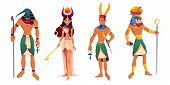 Egyptian Gods Amun, Ra, Thoth, Hathor. Ancient Egypt Deities And Mythological Creatures With Religio poster