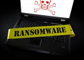 Laptop Computer With Ransomware Crime Scene Tape Across It And Skull And Crossbones poster