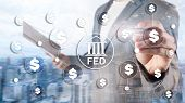 Fed Federal Reserve System Usa Banking Financial System Business Concept. poster