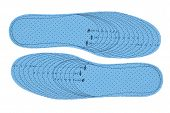 foto of insole  - Pair of blue foam insoles on a white background - JPG