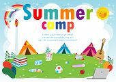 Kids Summer Camp Education Template For Advertising Brochure, Children Doing Activities On Camping,  poster
