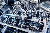 Car Engine Inside View Very Close Up, Engine Compartmen, Car Engine Background poster