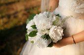 Wedding Bouquet In Female Hands. Beautiful Bouquet In Hand. Bouquet Of Peonies. poster